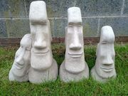 SET OF 4 EASTER ISLAND HEADS MADE FROM SOLID CONCRETE